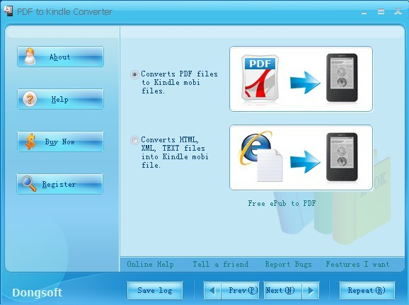 PDF to Kindle .mobi Converter Screen